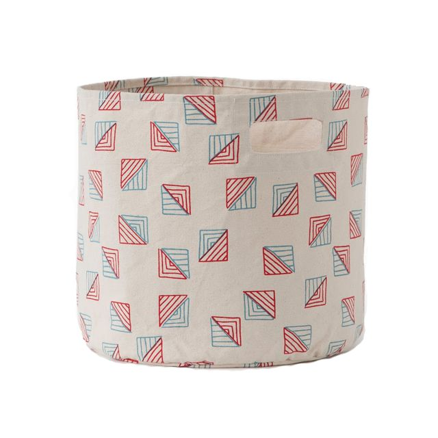 Triangle Blue and Red Toy Storage Bin - A truly great find for the nursery, playroom, mudroom or any room for that matter. #PNshopPehr Design, Peacocklov Pehrdesign, Petite Pehr, Storage Bins, Triangles Bins, Products, Pehr Blue, Blue Triangles, Triangles Storage