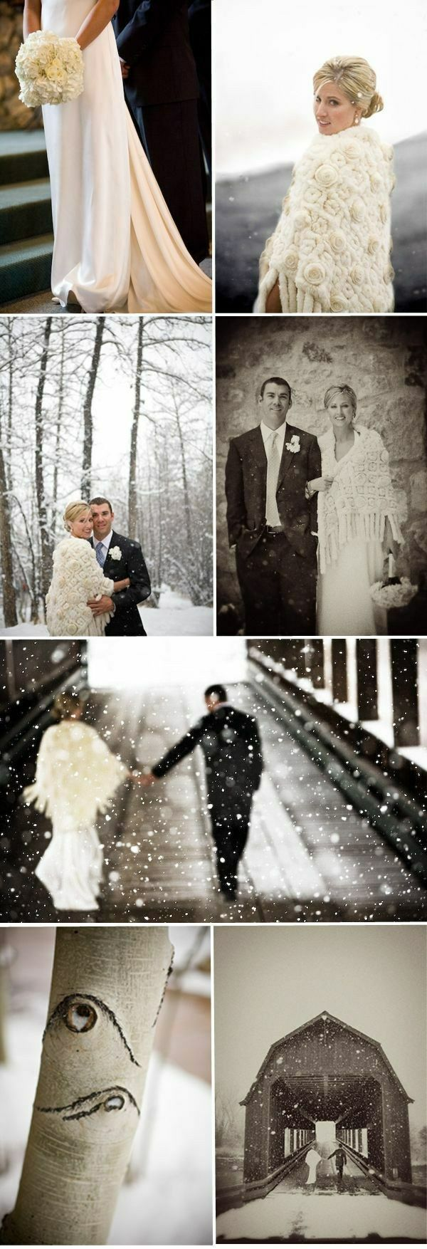 A winter shawl is a must have when you get married in the snow!