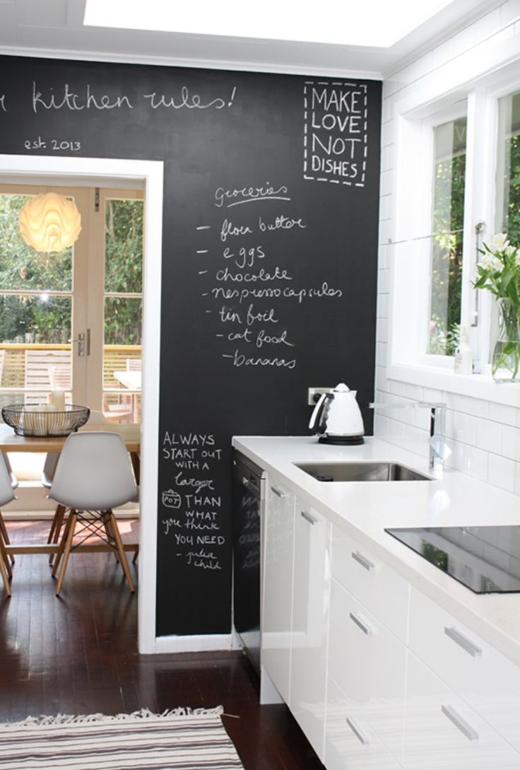 Galley kitchen by Nicola Blackmore love the 'make love not dishes!!!' :) blackboard = pizarra