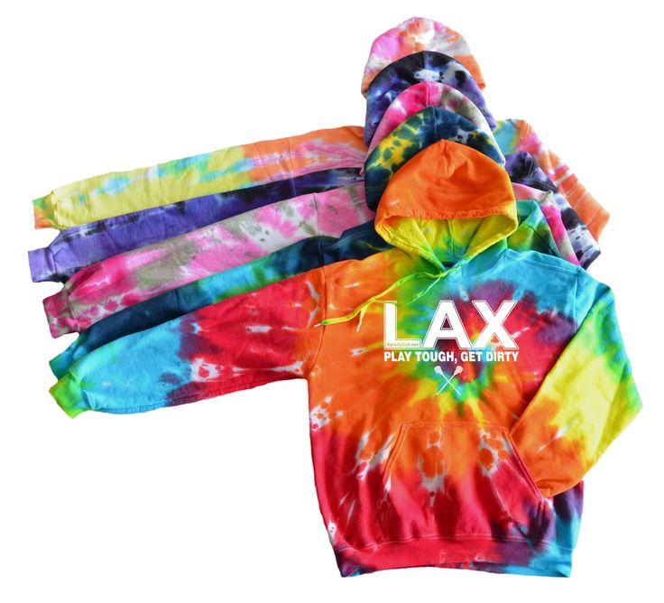 """Lacrosse Tie Dye Sweatshirt """"LAX Play tough get dirty"""" Logo"""