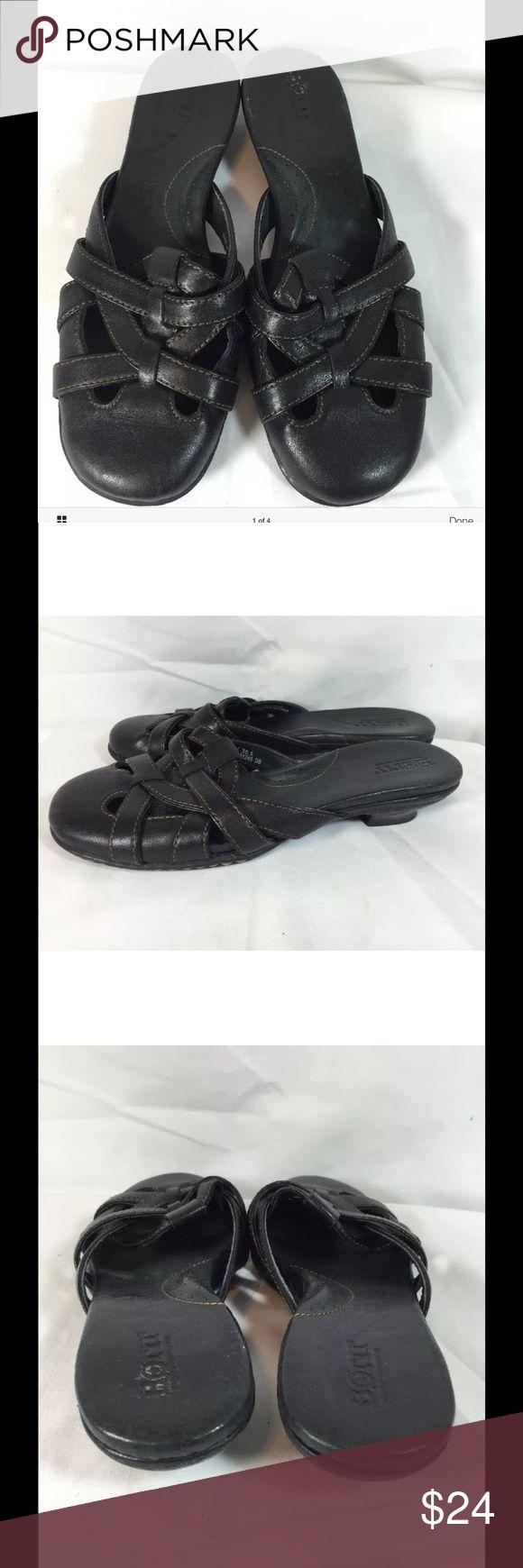 Black leather sandals low heel - Born Concept Black Leather Mules Low Heels Size 6 Born Women S Mules Sandals Low Heels