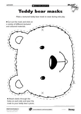 Collection of templates for teddy bear masks put together by earlyplaytemplates.blogspot.com.au