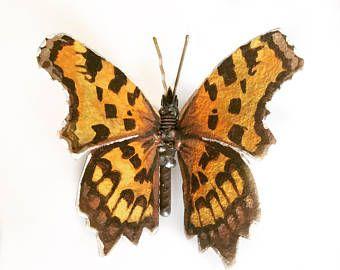 Schmetterling Skulptur ein Komma-Schmetterling, Original Ölgemälde auf Metall, eine maßgeschneiderte Geschenk von Tier Kunst, Schrott Metall Kunst.