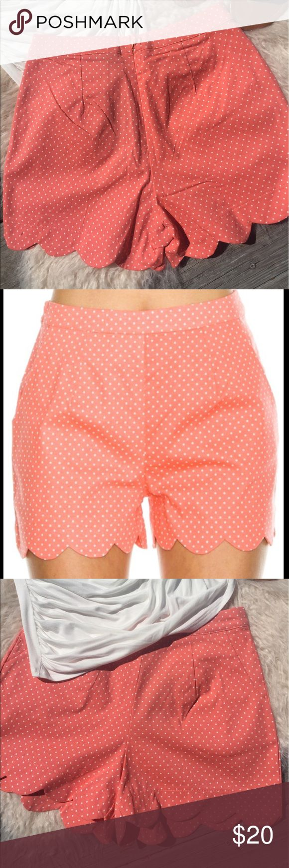 🆕 HIGH WAISTED CORAL SCALLOPED SHORTS 🆕 Brand New Boutique Shorts!!! Coral polka dot scalloped hem shorts with zip up back. These shorts are high waisted. Made of 97% cotton and 3% spandex. These shorts have a 3 inch inseam.  👚 Size chart is in photos. I recommend sizing up a size in these shorts. Very J Shorts