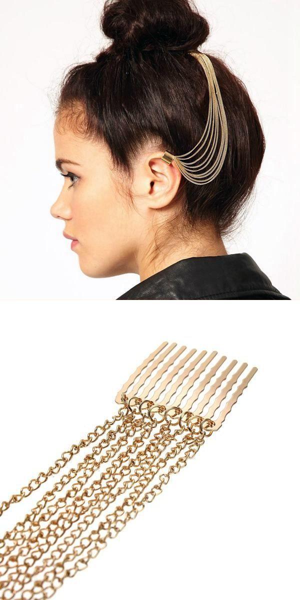 Earrings nickel free punk gold long tassel chain hair pin comb wrap clip earring for women #earrings #definition #earrings #madewell #earrings #on #sale #seventy #6 #earrings