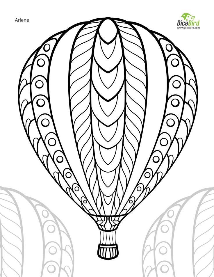 Hot air balloon adult free printable colouring page | Coloring for ...