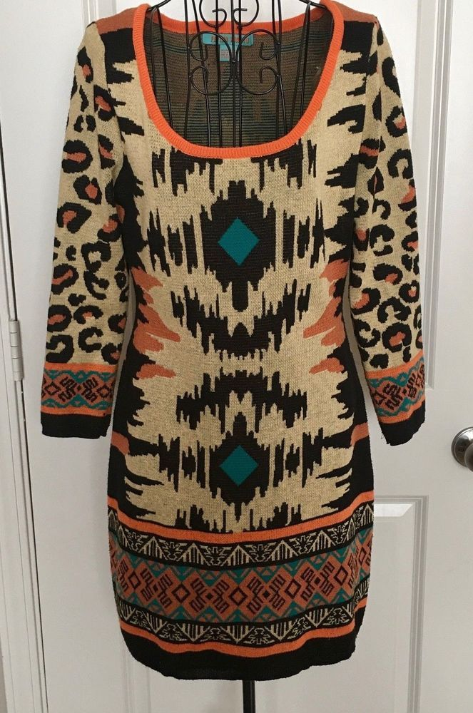 c67709ce015 Anthropologie Flying Tomato Knit Sweater Dress Tunic Animal Print Boho  Large  Anthropologie  SweaterDress