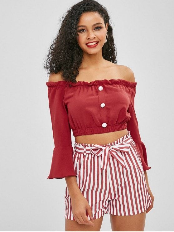 e499fed30f Off Shoulder Buttoned Stripes Shorts Set in 2019   Two Piece Outfits ...