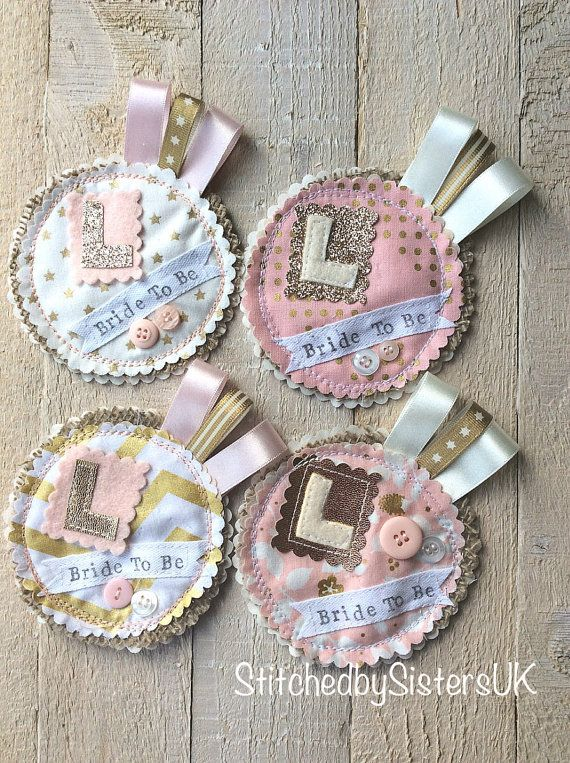 Bride to be badge pink and gold hen party by StitchedbySistersuk