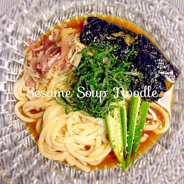 Kazumixさんが冷や汁風うどんをアップした日にさっそく作って食べました♪  あの日は湿気でジメジメしていたので、冷たくて爽やかな薬味たっぷりのうどんはとても美味しかったです✨  お出汁に味噌、胡麻と普段は入れないものだったので、新鮮な味に娘も大喜び( ்́ॢꇴ்̀ॢ)♡ とても美味しいお汁だったので、次の日の朝は冷奴にかけて食べたり、残りご飯にかけて食べました⁽⁽٩(๑˃̶͈̀▽ ˂̶͈́)۶⁾⁾  kazumixさん、美味しいレシピの紹介ありがとう〜 食べ友もよろしくお願いしま〜す(﹡ˆᴗˆ﹡) - 227件のもぐもぐ - kazumixさんの料理 冷や汁風うどん by budgerigar