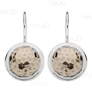 Beaten brass  silver disc earrings
