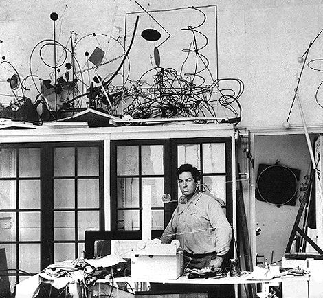 Alexander Calder in his Paris studio, 14 Rue de la Colonie, fall 1931. Photograph by Marc Vaux