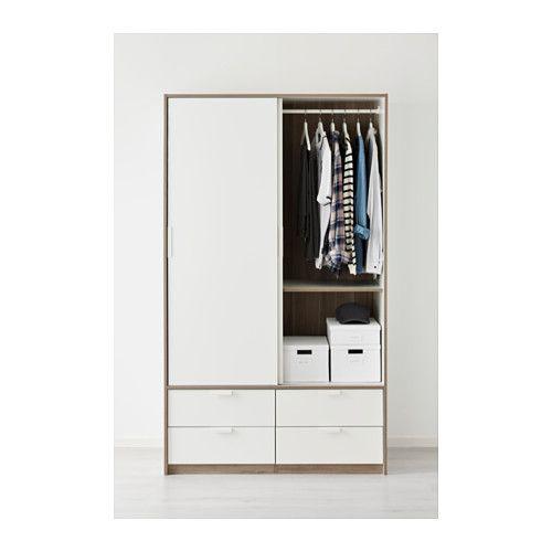TRYSIL ワードローブ 引き戸付き (引き出し×4) - ホワイト - IKEA