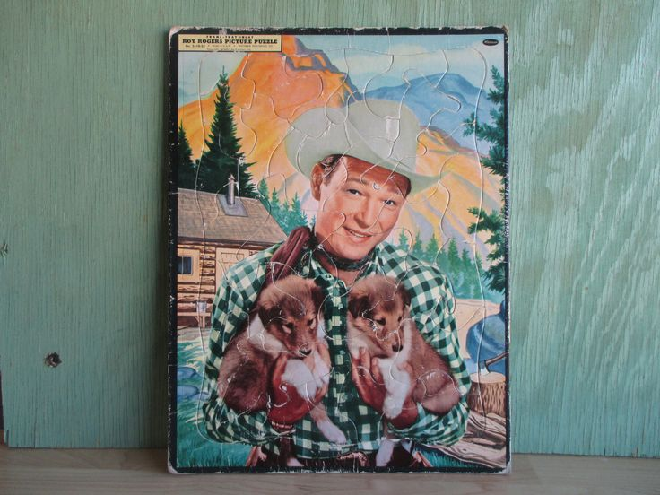 Vintage Roy Rogers Picture Puzzle, Collectible Tray Frame Inlay Jigsaw Puzzle, Kids Learning Toy, 1950s Western Cowboy Decor