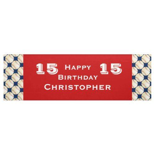 12th, 13th, 14th, 15th Birthday Party Baseball Banner