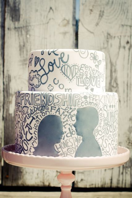 words from love note/vowsEngagement Parties, Parties Cake, Cake Ideas, Silhouettes, Wedding Cakes, Engagement Cake, Awesome Cake, Weddingcake, Painting Cake