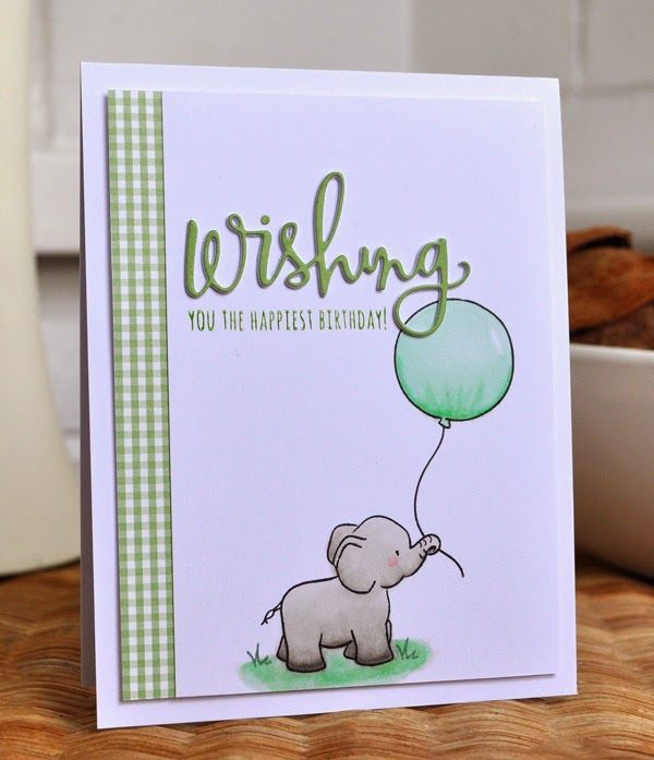 Adorable little elephant birthday card using WPlus9 Unforgettable and SSS wishing die. By Inkyfingered Carol