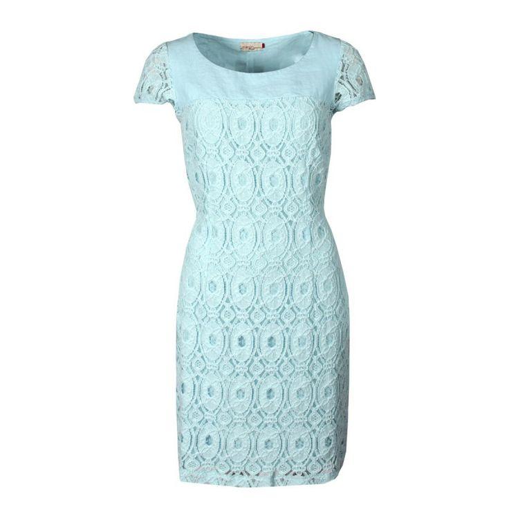 Kanten jurk met korte mouwen, Vlas of linen en katoen - Jurken