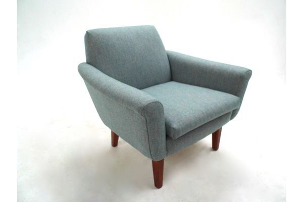 Norwegian Light Blue Wool Armchair Midcentury Chair 1960s   vinterior.co