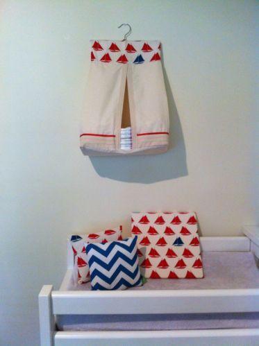 Nursery Package Modern Nautical Boats Red Ivory Aquamarine Blue
