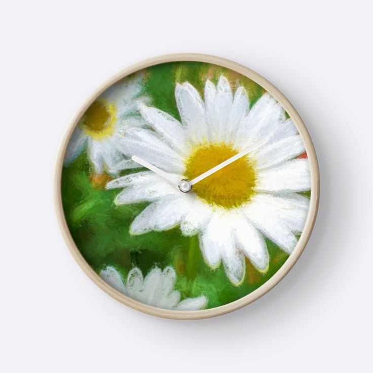 Artistic Daisies / Marguerites artistiques Clocks by Galerie 503