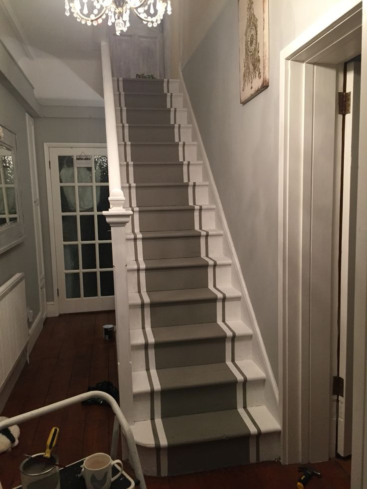 Stairs after an Everlong transformation in Castle Keep & Porcelain #everlongpaint @everlongpaint @perlstreasures