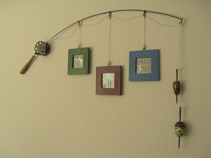 Fishing pole frames. I think @Dana Curtis Curtis Curtis Dregallo should do this in her house for Matthew!