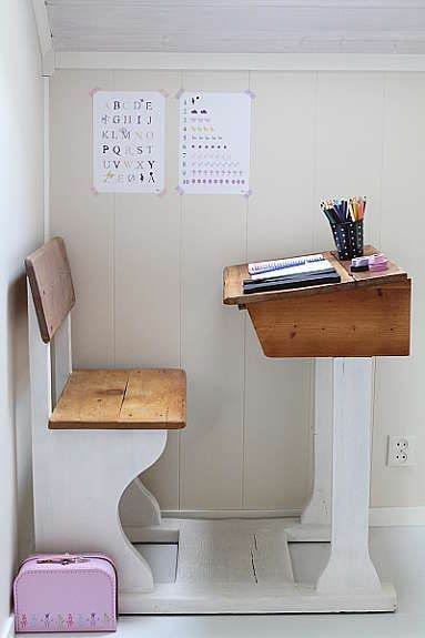 Brilliant idea for getting children ready for the concept of sitting at a desk and doing work/activities before that get to the structure of school. Role playing activities of teacher and student, timed activities that lengthen as the child can focus more on one task.  Adding a mat by the desk for stories or cushions for silent reading also gets them used to newer activities.
