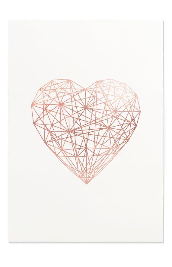 Rose Gold Geometric Heart, Line Art, Printable Wall Art, Trending Now, Modern Wall Art, Rose Gold Love, Chic Wall Art, Office Wall Art Decor – U.M. H.