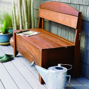 Handsome storage bench    This inventive bench serves two purposes: it's a comfortable place to sit and admire the garden and it can also hide one or two coiled hoses.    It can be built in just two days, but requires intermediate woodworking skills.
