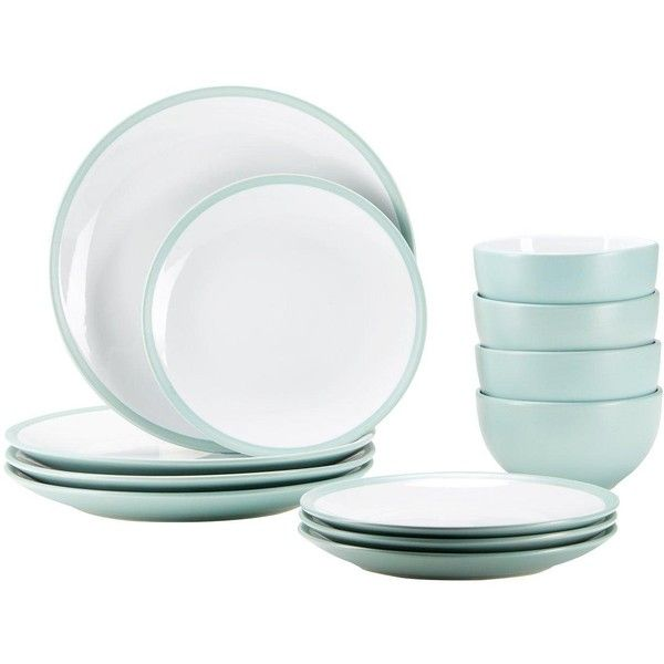 Ideal Home Edge 12 Piece Dinner Set ($31) ❤ liked on Polyvore featuring home, kitchen & dining, dinnerware, dishwasher safe plates, contemporary dinner plates, microwave safe bowl, microwave safe dinner plates and stoneware plates