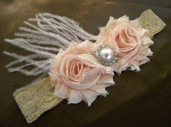 Blush vintage pink shabby chiffon headband- feathers-lace headband-flower , shabby headband, any size, newborn, baby flower girl, photo prop. $11.99, via Etsy.