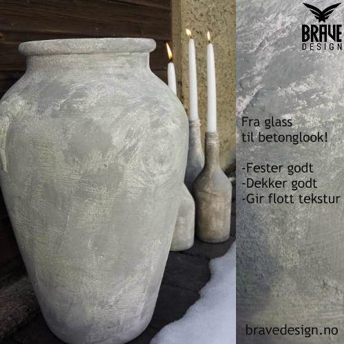 Glassvase og glassflasker. Kallkmaling fra Vintro fester på ALT!   #kalkmaling #vintrokalkmaling #malepåglass #betongeffekt #betonglook #bravedesign #nettbutikk http://www.bravedesign.no/