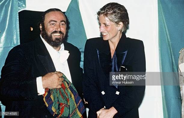 Princess Diana Princess of Wales and opera singer Luciano Pavarotti at Hyde Park concert July 30 1991 in London