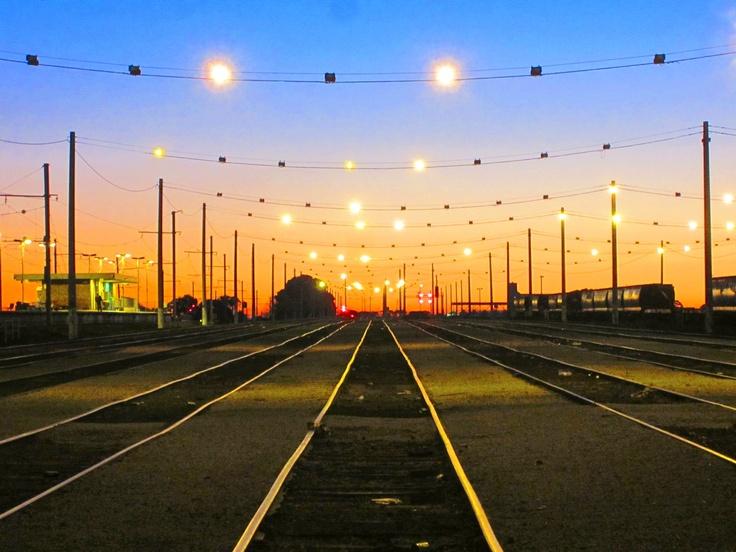 A rail yard.