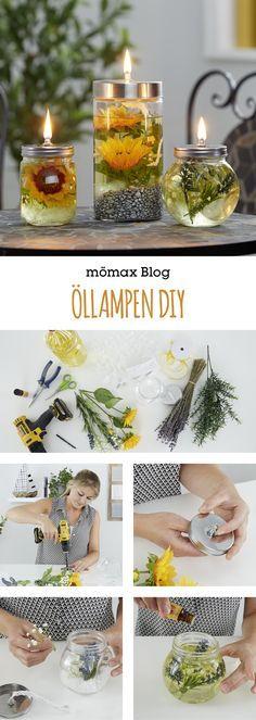 Öllampen für die Terrasse oder den Garten ganze einfach selber machen! DIY Anleitung findest du am mömax Blog!