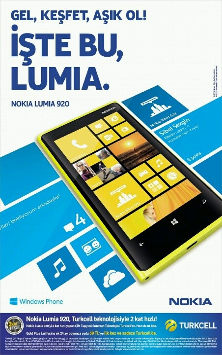 Nokia Lumia 920 Turkcell ile ayda 59 tl.