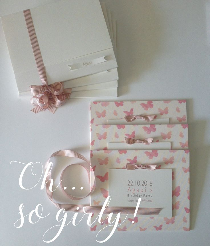 handmade linen invitaion | white pink elegant girly | butterfly theme party | custom made events | www.bemyguest.com.gr