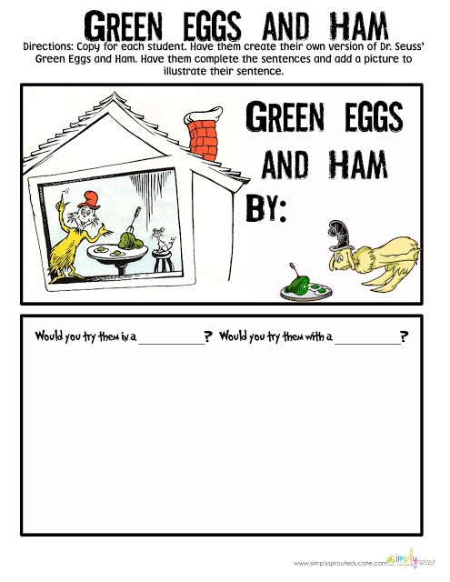 Dr. Seuss Green Eggs and Ham activities for the classroom for Read Across America