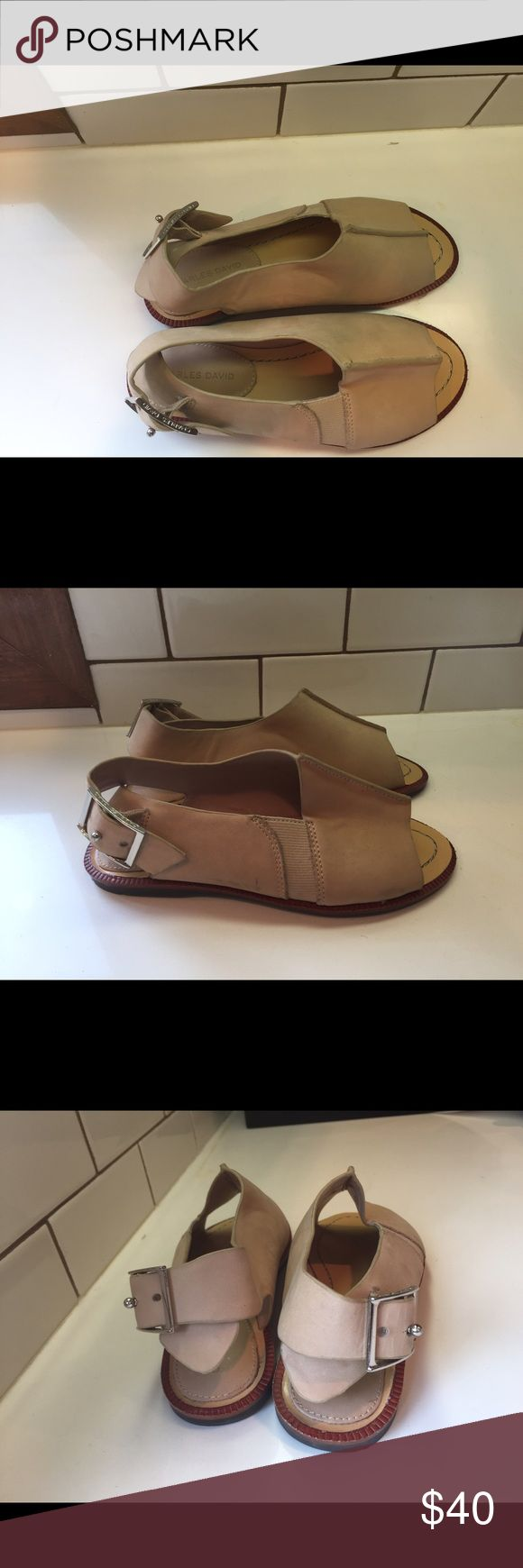 Charles David peep toe flat sandals New without tags. Never been worn. Size 5. Light tan leather. Buckle on back. Charles David Shoes Sandals