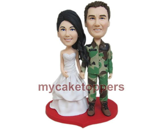 Check out this item in my Etsy shop https://www.etsy.com/listing/125798328/army-wedding-cake-toppers