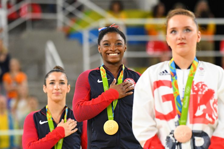 Congratulations to Simone Biles (middle) and Aly Raisman (left) for medaling in the women's floor exercise final! Simone won gold, Raisman took silver and bronze went to Amy Tinkler of Great Britain (right).