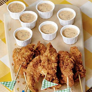 Chicken Fingers On A Stick With Jalapeño-Mustard Dipping Sauce Recipe. #UltimateTailgate #Fanatics
