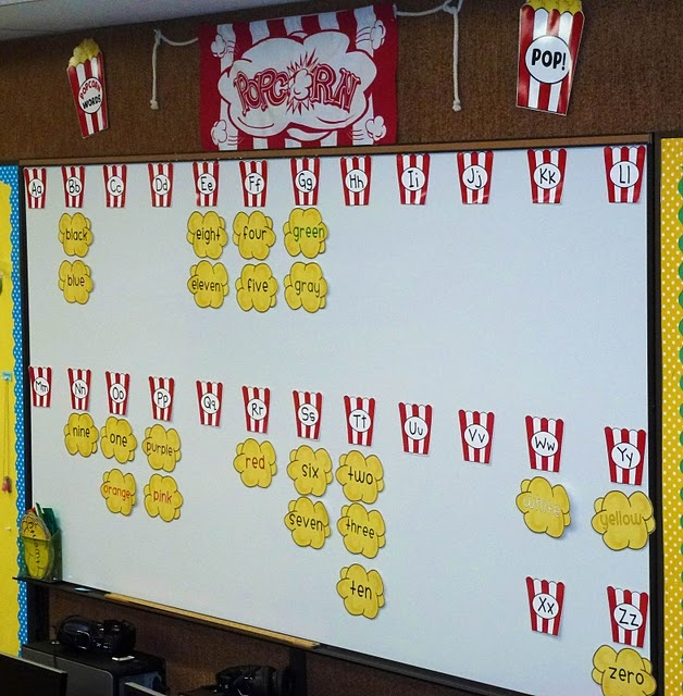 "check out this darling popcorn word-wall! it would be perfect for a circus classroom... or any classroom! remember, popcorn words are words that ""POP!"" into your mind!"