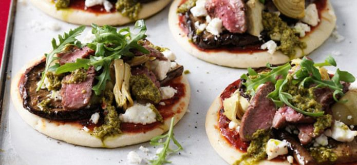 EGGPLANT AND LAMB PIZZAS