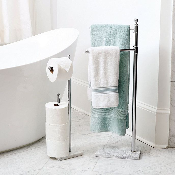 Marble Free Standing Toilet Paper Holder In 2020 Free Standing Towel Rack Bathroom Free Standing Towel Rack Towel Rack