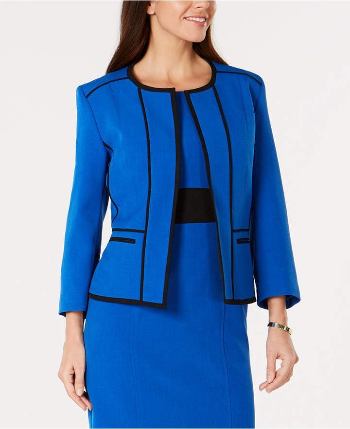 d6cee57bcf1 Kasper Petite Contrast-Trim Collarless Jacket in royal lapis blue and black