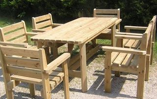 Dining Table And Captains Chairs Made From Pallets
