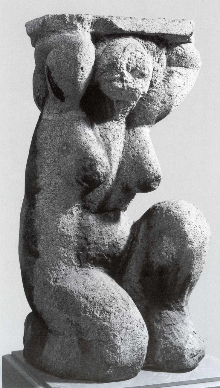 Amedeo Modigliani's massive, lyrical Caryatid sculpture.