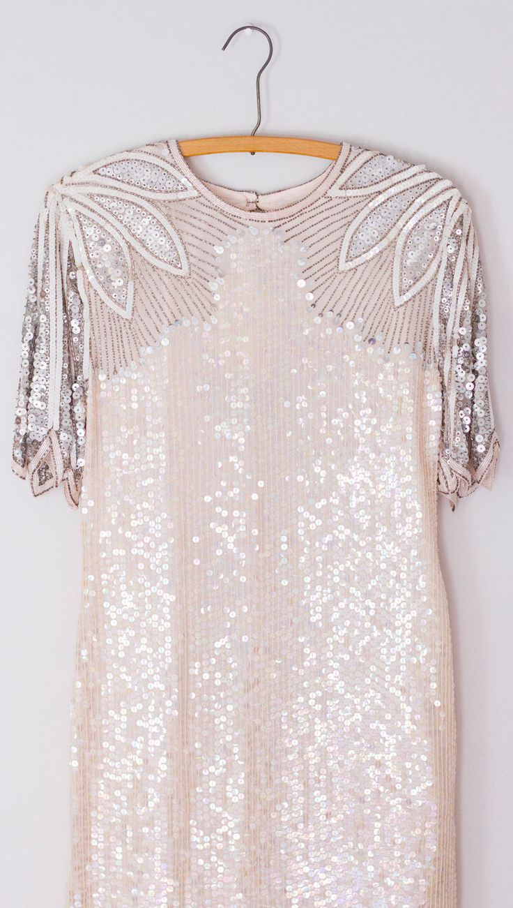 Unconventional Vintage Silver and Pink Sequin Wedding Dress, this would make a perfect reception dress